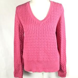Tommy Hilfiger Sweater Cable Knit XL Vneck Pink